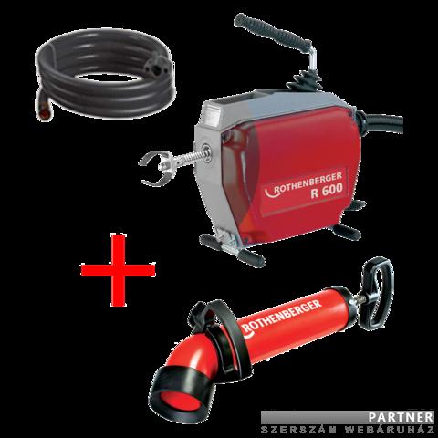 Rothenberger R600 duguláselhárító gép / alapgép vezetőcsővel ajándék ROPUMP SUPER PLUS WC pumpával