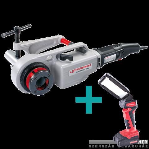 Rothenberger Supertronic 2000 elektromos menetmetsző készlet + RO FL180 LED lámpa